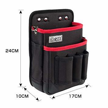 ブラック+レッド M 腰袋 2段 電工 工具袋 腰 工具入れ 工具差し付 ツールバッグ ポケット多数 (約)幅17cm&time_画像2