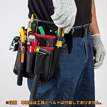 ブラック+レッド M 腰袋 2段 電工 工具袋 腰 工具入れ 工具差し付 ツールバッグ ポケット多数 (約)幅17cm&time_画像1
