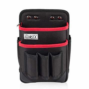 ブラック+レッド M 腰袋 2段 電工 工具袋 腰 工具入れ 工具差し付 ツールバッグ ポケット多数 (約)幅17cm&time_画像7