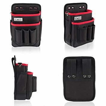 ブラック+レッド M 腰袋 2段 電工 工具袋 腰 工具入れ 工具差し付 ツールバッグ ポケット多数 (約)幅17cm&time_画像3