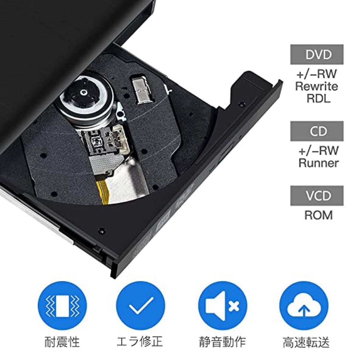 外付けDVDドライブ ポータブル DVDプレイヤー DVD±RW USB3.0 CD-RW Window 薄型