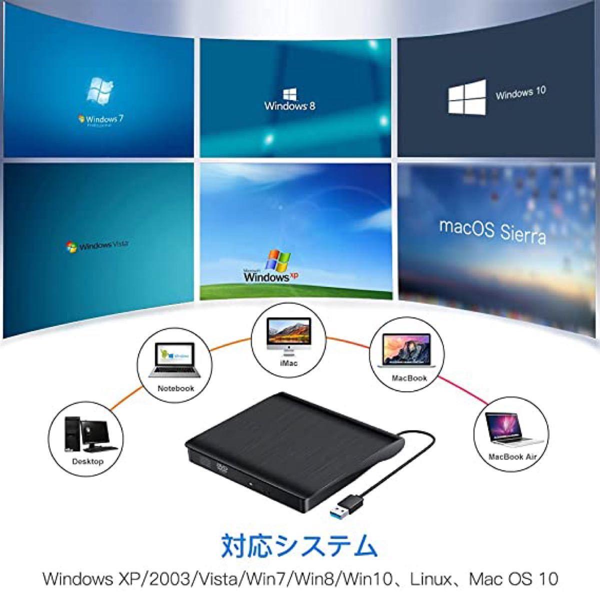 外付けDVDドライブ DVDプレイヤー ポータブル USB3.0 DVD  DVD±RW Window 薄型
