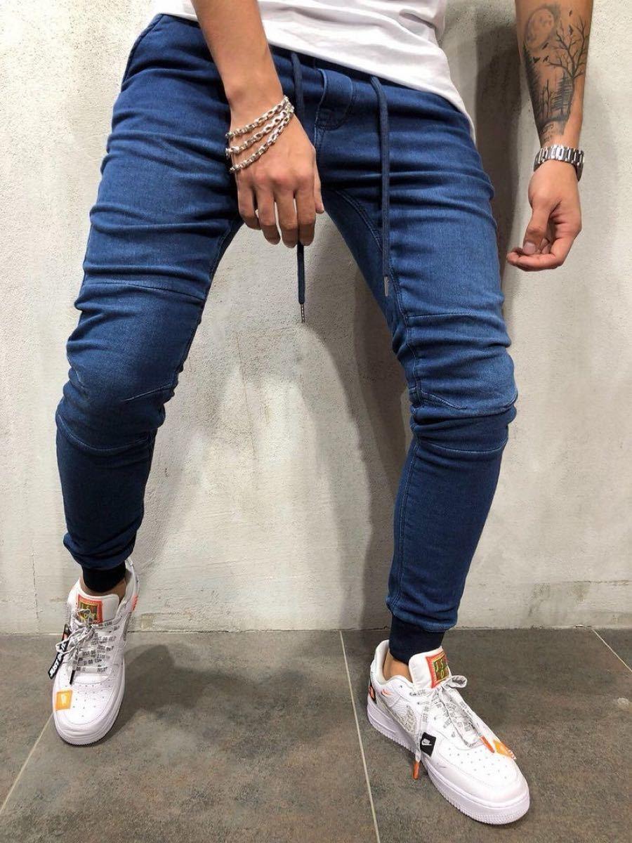 ジョガーパンツ スキニー スキニーデニム メンズ デニム調 ジーンズ ブルー 青 デニムパンツ メンズジーンズ サルエルパンツ