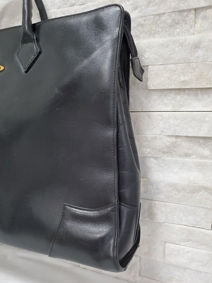 Vivienne Westwood ヴィヴィアンウエストウッド ビジネスバッグ ブリーフケース オーブ金具 レザー 黒 A4可