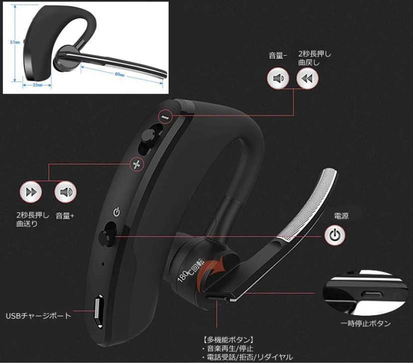 1円~!送料無料!最新モデル Bluetooth イヤホン ワイヤレス ハンズフリー 片耳 耳掛け マイク ヘッドセット 左右兼用 日本語説明書付 _画像2