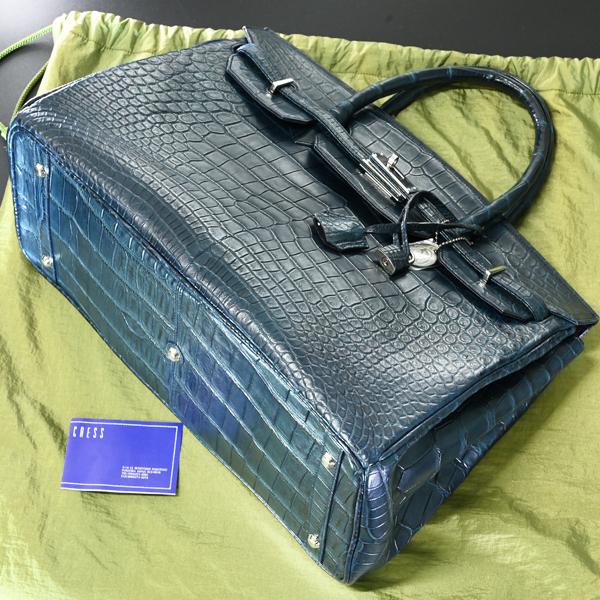 本物 新品 メンズ40サイズ 最高級マットクロコダイルレザー メンズバーキン トートバッグ A4書類ビジネスバッグ 総ワニ革 クロコレザー_画像4
