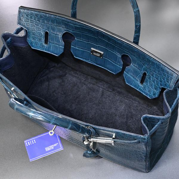 本物 新品 メンズ40サイズ 最高級マットクロコダイルレザー メンズバーキン トートバッグ A4書類ビジネスバッグ 総ワニ革 クロコレザー_画像10