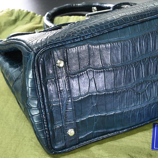 本物 新品 メンズ40サイズ 最高級マットクロコダイルレザー メンズバーキン トートバッグ A4書類ビジネスバッグ 総ワニ革 クロコレザー_画像7