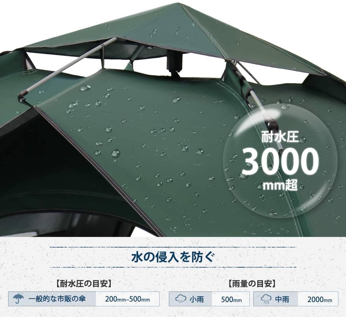 【テントG】新品未開封 ワンタッチテント 2-4人用 2重層 キャンプ UVカット 防水