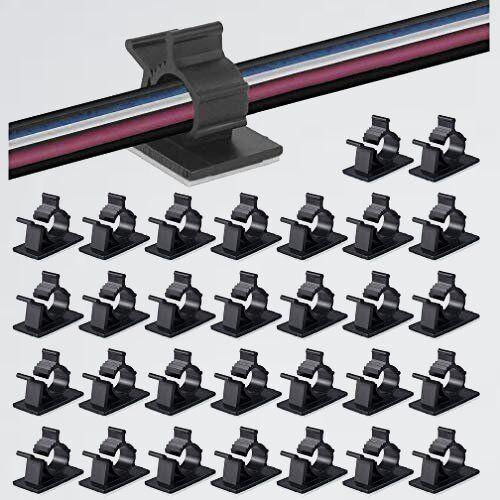 新品 50個入 ケ-ブルクリップ 9-9G by MAVEEK 4階段調節可能コ-ドクリップ ケ-ブルホルダ- コMZZ6_画像1