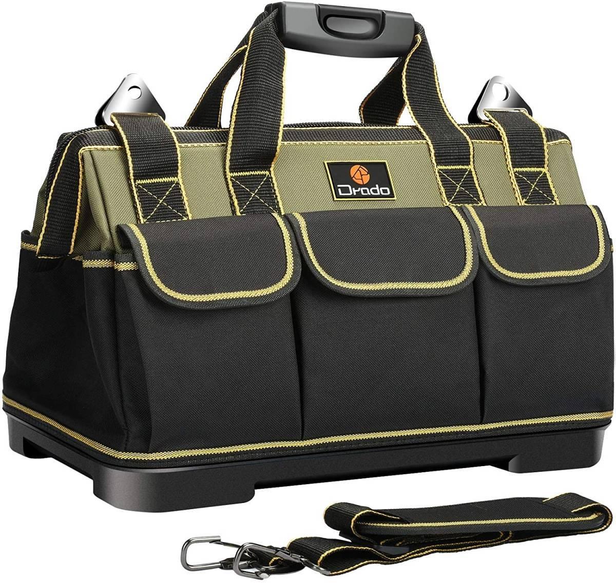 Drado ツールバッグ 工具バッグ 工具袋 工具差し入れ 大口収納 1680Dオックスフォード 特化プラスチック底部 防水 40㎝×23㎝×28㎝ ITET_画像1