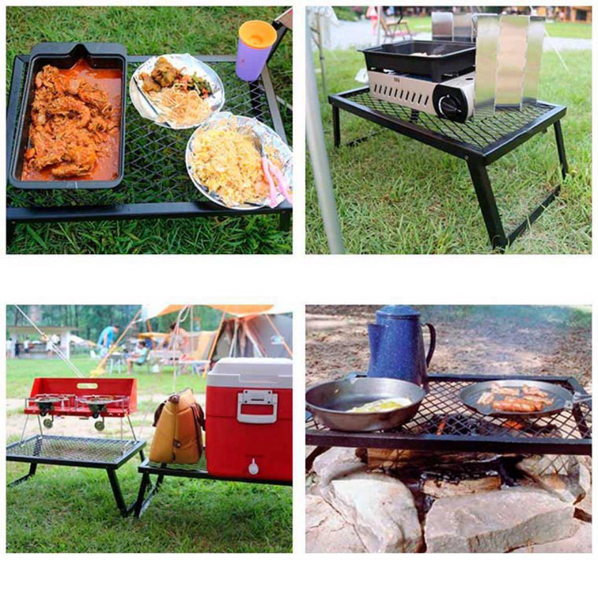 アイアン ローテーブル メッシュ キャンプテーブル グリル アウトドア 焚き火台