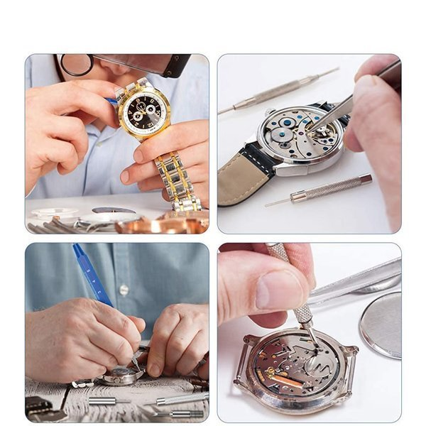 ★★ 時計工具 腕時計修理工具 185点セット 電池交換 ベルト交換 バンドサイズ調整 時計修理ツール バネ外し 裏蓋開け KEISET_画像6