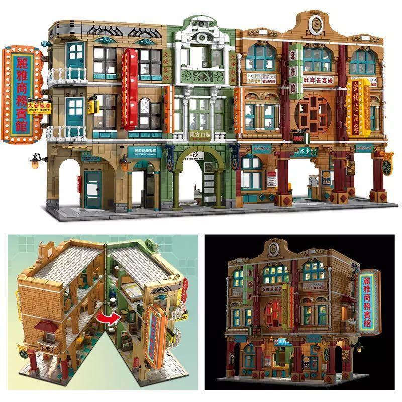 LEGO互換 香港の街 人形12体、照明付_画像2