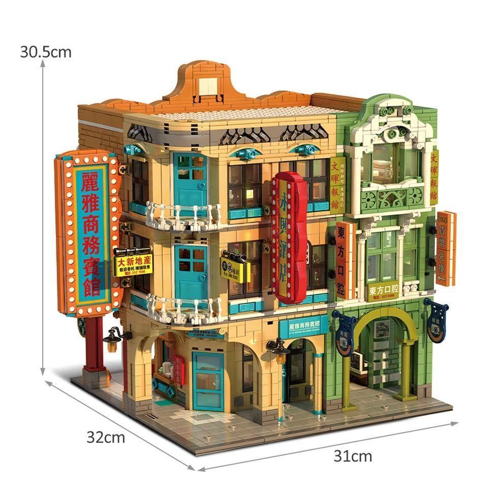 LEGO互換 香港の街 人形12体、照明付_画像4