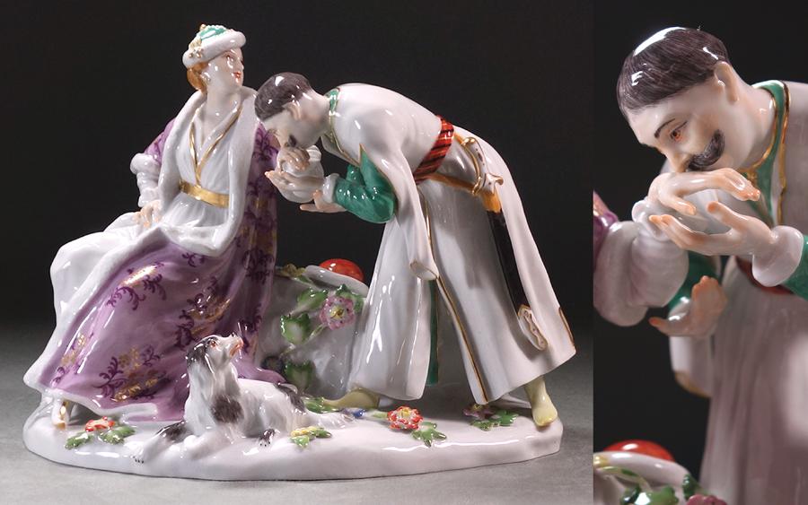 ∇花∇【マイセン/MEISSEN】 1743年頃発表 巨匠J.J.ケンドラー原型制作 名作磁器人形「ポーランドのキス」 H17.5cm ◇18