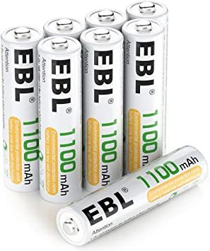 単4電池 EBL 単4電池 充電式電池 1100mAhニッケル水素充電式電池、収納ケース付き8パック 単四電池 充電池_画像1