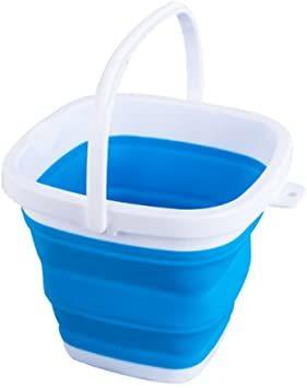 ブルー 10L EtetnalWings 正方形 折りたたみ バケツ 洗車 掃除 洗濯 アウトドア 園芸 釣り コンパクト 収納_画像1