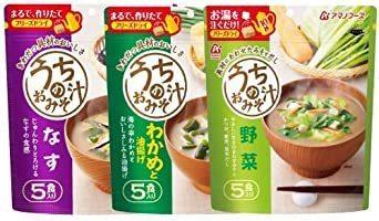 新品アマノフーズ フリーズドライ 味噌汁 ( なす わかめ 野菜 ) 3種類 30食 うちの おみそ汁 小袋ねぎ1袋WS6I_画像2