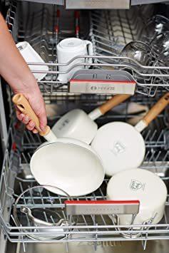 ビンテージ ホワイト ソースパン 14cm グリーンシェフ 片手 鍋 ソースパン IH対応 14cm 蓋付 セラミック こびり_画像6