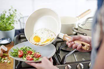 ビンテージ ホワイト ソースパン 14cm グリーンシェフ 片手 鍋 ソースパン IH対応 14cm 蓋付 セラミック こびり_画像3