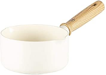 ビンテージ ホワイト ソースパン 14cm グリーンシェフ 片手 鍋 ソースパン IH対応 14cm 蓋付 セラミック こびり_画像1