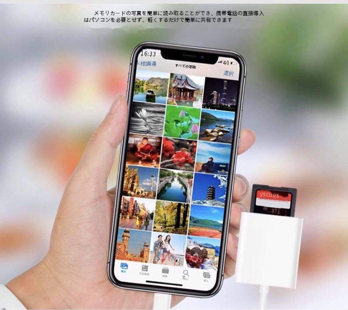 iPhone/iPad SD カードリーダー Lightning SDカードカメラリーダー データ 転送 バックアップ