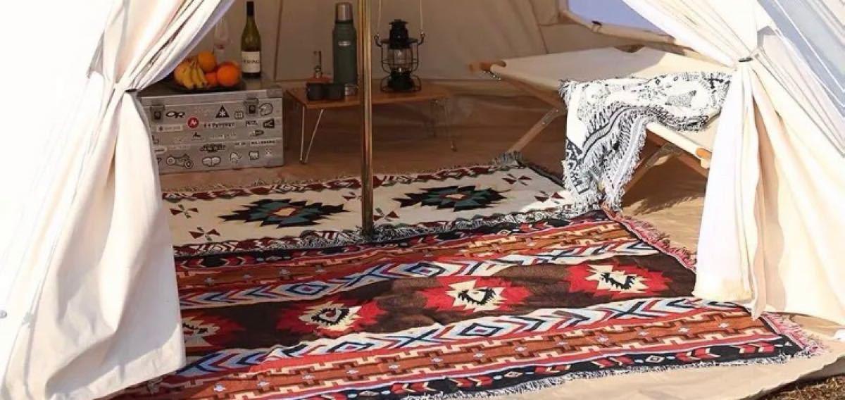 アウトドア キャンプ グランピング カーペット ラグマット キリム柄 オルテガ柄 ネイティブ ポリコットン 民族柄 テント 赤