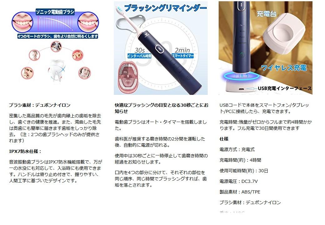 超音波歯ブラシ 電動歯ブラシ USBワイヤレス充電 替えブラシ2本 IPX7防水