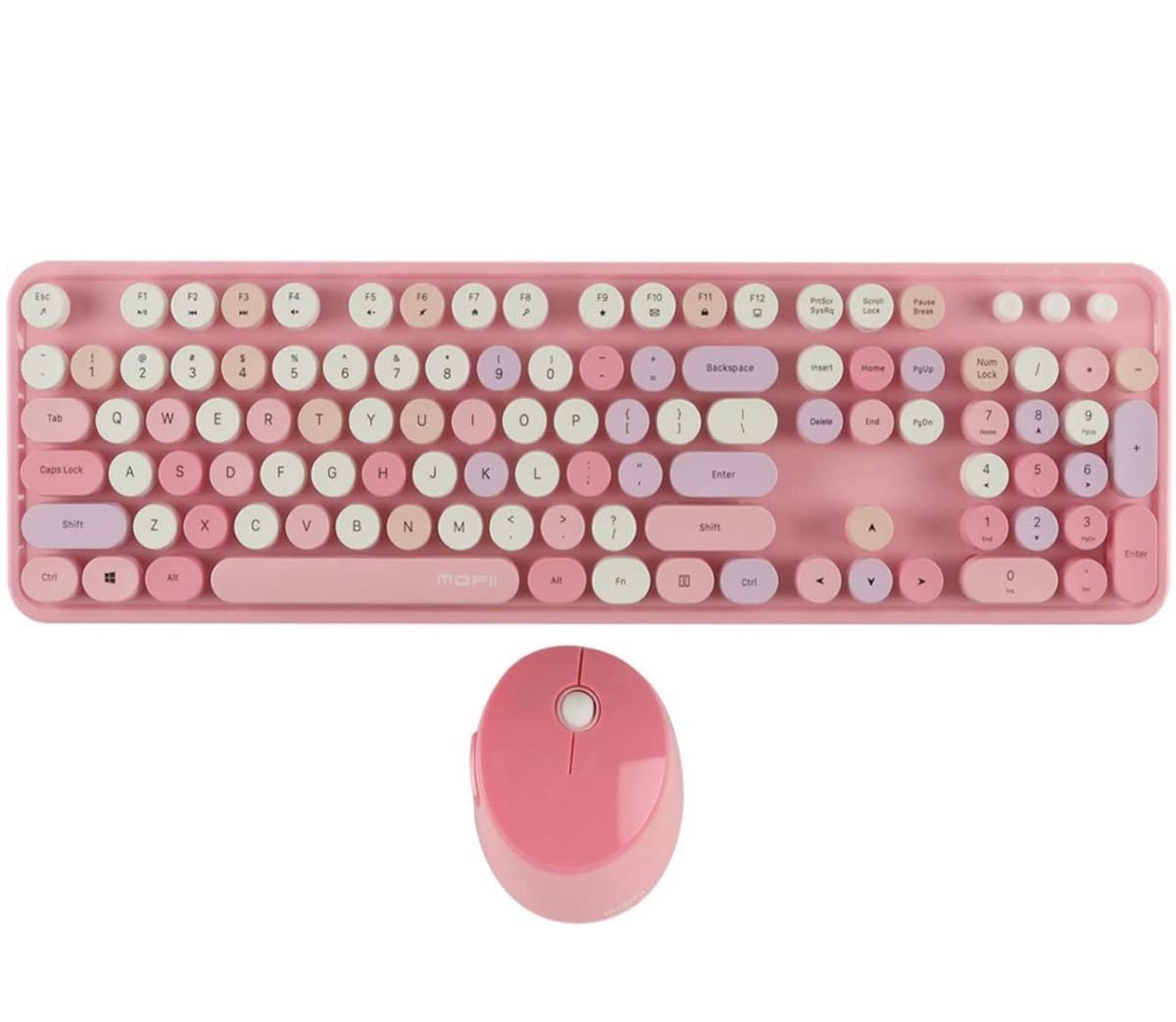 ワイヤレスキーボードマウスセット 大型キーボード 2.4GHz無線接続