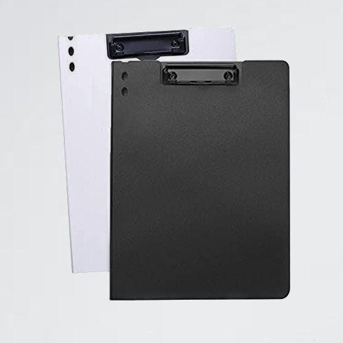 新品 未使用 クリップファイル クリップボ-ド 7-3T オフィス用品バインダ- (白黒(2個縦型)) a4資料ホルダ- 360度折り返し 軽量_画像1