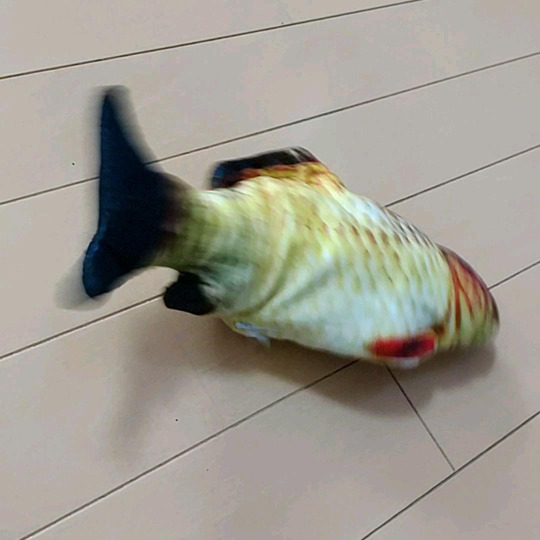 ねこのおもちゃ 電動式の魚のけりぐるみ(ふな)