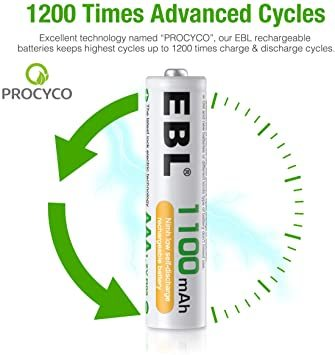 単4電池 EBL 単4電池 充電式電池 1100mAhニッケル水素充電式電池、収納ケース付き8パック 単四電池 充電池_画像3