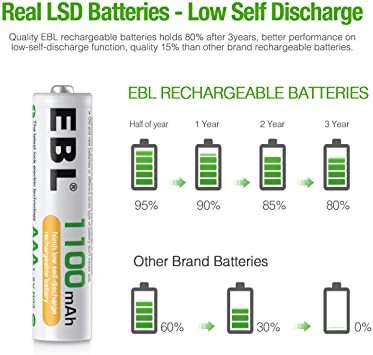 単4電池 EBL 単4電池 充電式電池 1100mAhニッケル水素充電式電池、収納ケース付き8パック 単四電池 充電池_画像4