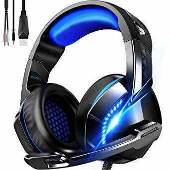 Blue ゲーミング ヘッドセット 軽量 ヘッドホン 高音質 ヘッドフォン マイク付き PS4ヘッドセット PC パソコン スカ_画像1