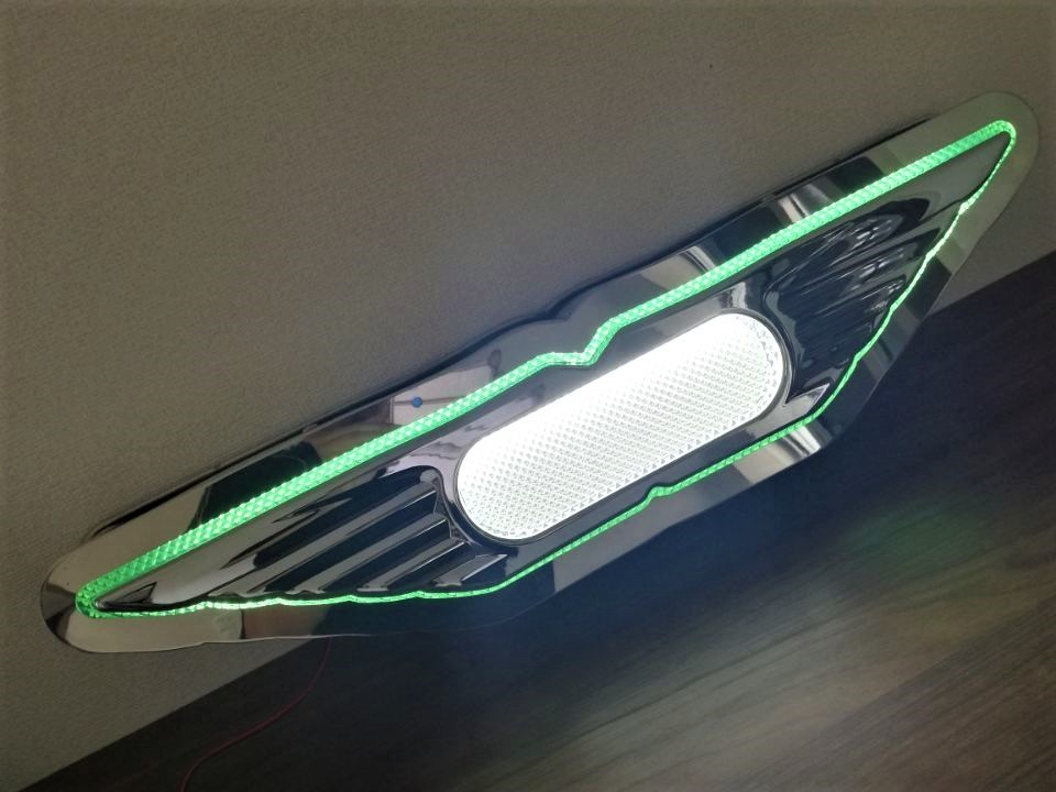 1 jpy ~ new goods immediate payment! saec medium sized for Hino and n bus Mark specular stainless steel green color & blue color 6mm round stick volume 24V LED light attaching deco truck retro 10143