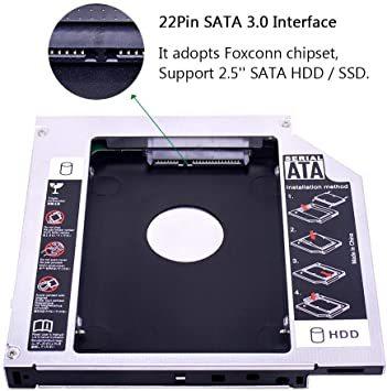 YQZ 9.5mmセカンドHDDキャディトレイアダプター ハードディスクマウンタ汎用 ノートPC光学ドライブをHDDやSSDに置_画像3