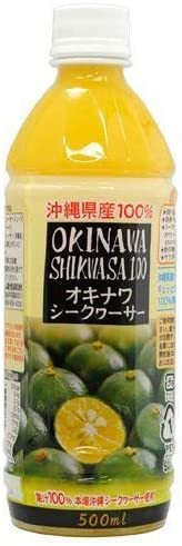 2本 オキナワ シークヮーサードリンク 100 500ml PET×2本 オキハム 沖縄県産のシークワーサーをまるご_画像1