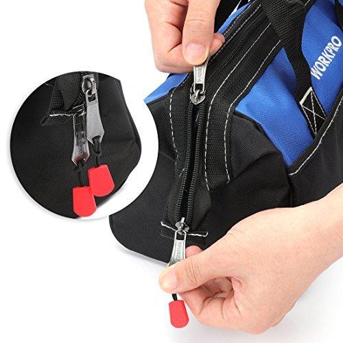 13-Inch WORKPRO ツールバッグ 工具差し入れ 道具袋 工具バッグ 大口収納 600Dオックスフォード ワイドオープ_画像4