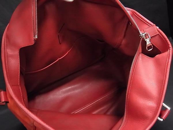 1円 ■美品■ LOEWE ロエベ アナグラム スエード×レザー シルバー金具 ハンドバッグ トートバッグ 手提げかばん レッド系 Q4634アN_画像8