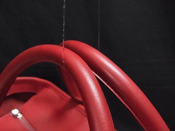 1円 ■美品■ LOEWE ロエベ アナグラム スエード×レザー シルバー金具 ハンドバッグ トートバッグ 手提げかばん レッド系 Q4634アN_画像6