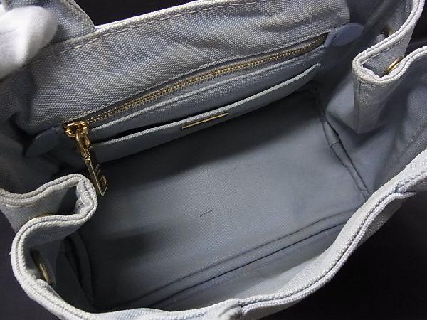 1円 PRADA プラダ ミニカナパ キャンバス ゴールド金具 ハンドバッグ トート 手提げかばん 手持ち レディース ライトブルー系 R0246kh_画像8