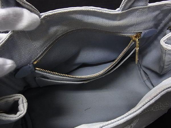 1円 PRADA プラダ ミニカナパ キャンバス ゴールド金具 ハンドバッグ トート 手提げかばん 手持ち レディース ライトブルー系 R0246kh_画像9