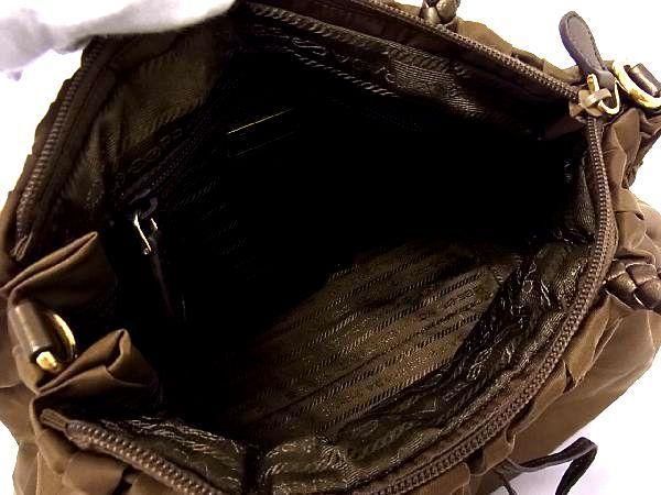 1円 ■美品■ PRADA プラダ テスートナイロン ゴールド金具 ハンドバッグ トート 手提げ 手持ちかばん カーキブラウン系 S0999アn_画像8