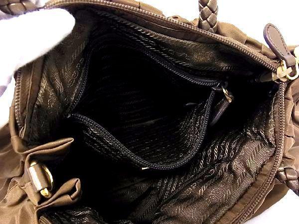 1円 ■美品■ PRADA プラダ テスートナイロン ゴールド金具 ハンドバッグ トート 手提げ 手持ちかばん カーキブラウン系 S0999アn_画像9