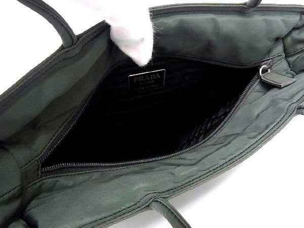 1円 PRADA プラダ テスートナイロン シルバー金具 トートバッグ ハンドバッグ 手提げかばん レディース グリーン系 R0465QN_画像8