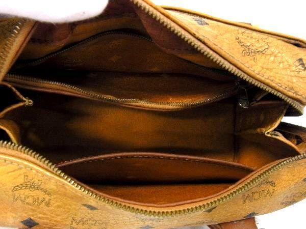 1円 MCM エムシーエム モノグラム ヴィセトス柄 レザー ゴールド金具 ミニボストン ハンドバッグ 手提げかばん ブラウン系 S2207BN_画像9