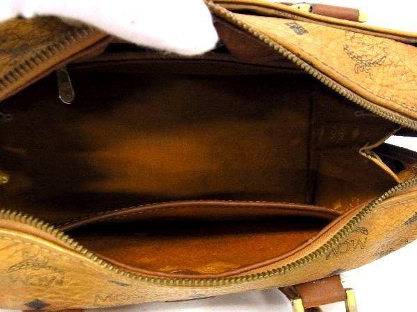 1円 MCM エムシーエム モノグラム ヴィセトス柄 レザー ゴールド金具 ミニボストン ハンドバッグ 手提げかばん ブラウン系 S2207BN_画像8