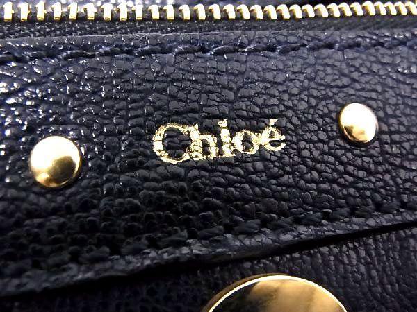 1円 ■美品■ Chloe クロエ テス レザー ゴールド金具 ハンドバッグ トートバッグ 手提げかばん レディース ネイビー系 P4870アN_画像10