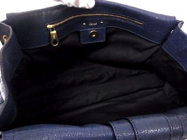 1円 ■美品■ Chloe クロエ テス レザー ゴールド金具 ハンドバッグ トートバッグ 手提げかばん レディース ネイビー系 P4870アN_画像8